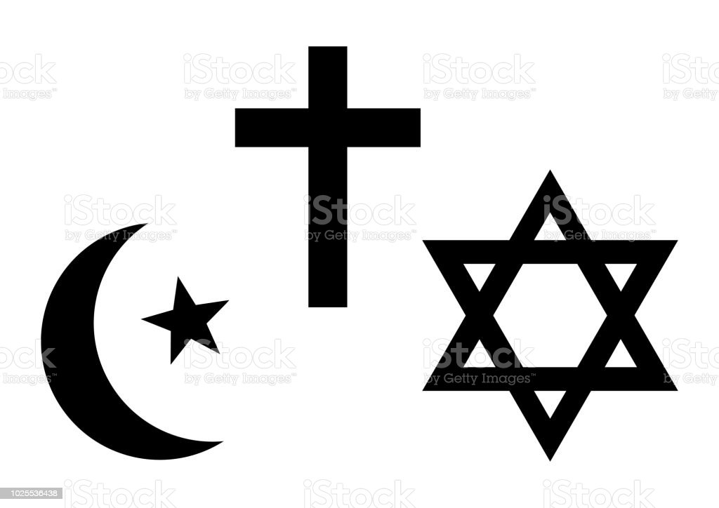 Three World Religions Symbols Islam Christianity And Judaism Black