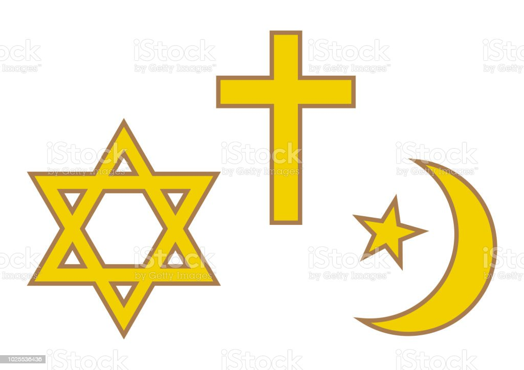 Three World Religions Symbols Judaism Christianity And Islam Vector