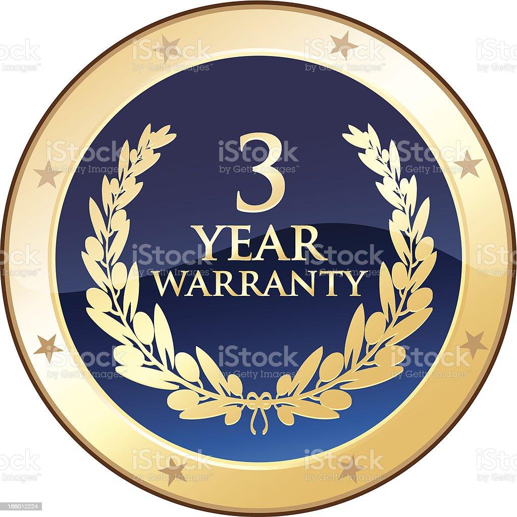 Three Year Warranty Shield royalty-free stock vector art