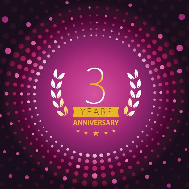 Three years anniversary icon with purple color background vector art illustration