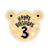 Three years birthday emblem or sticker with cute animals and elements