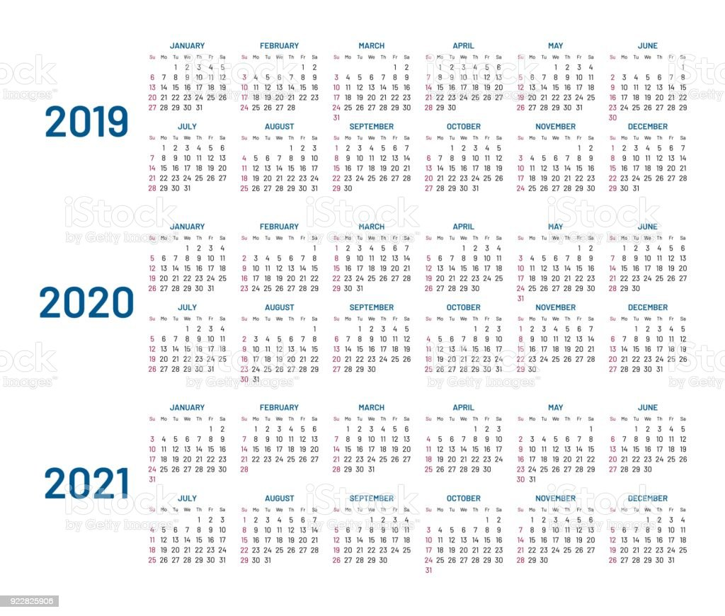 three years calendar 2019 2020 2021 isolated flat royalty free