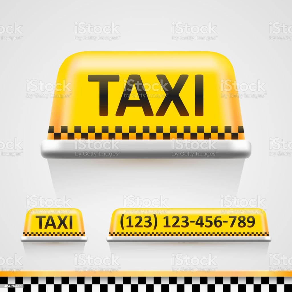 Three yellow and black shining taxi designs vector art illustration