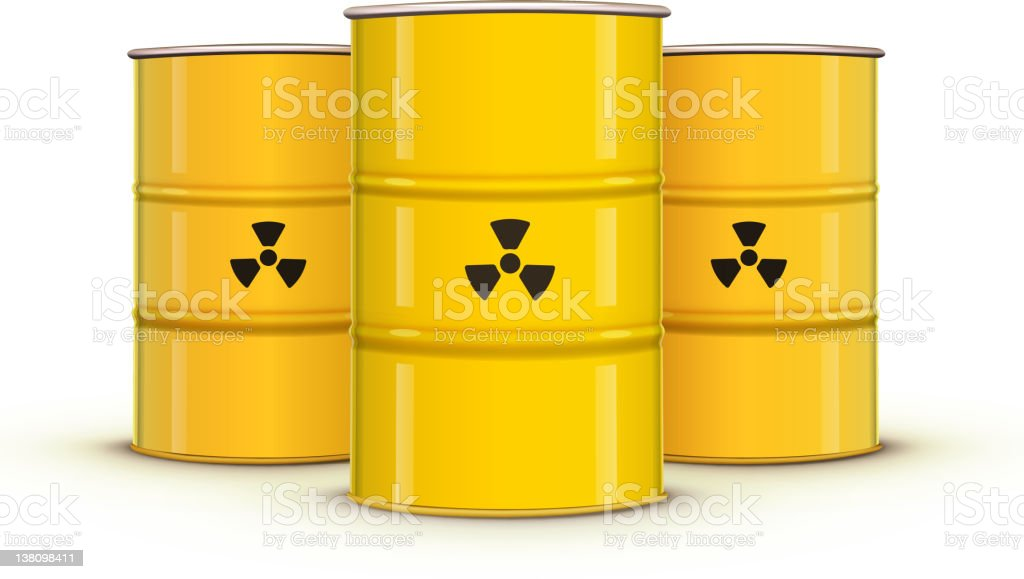 Three yellow hazardous barrels vector art illustration