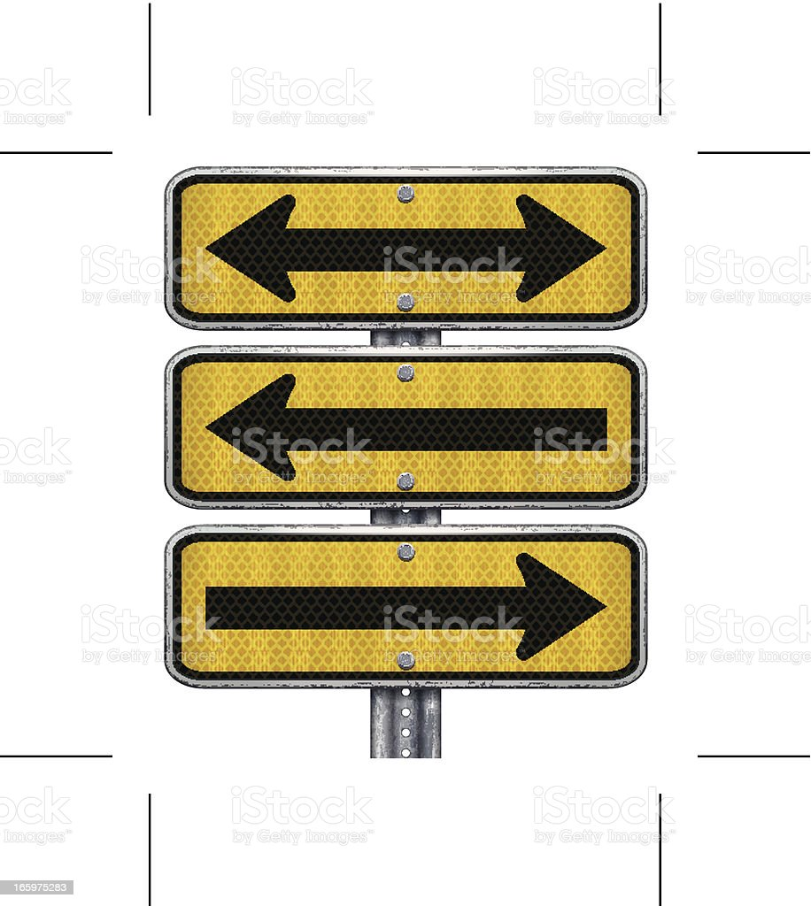 three yellow rectangular road signs with arrows vector art illustration
