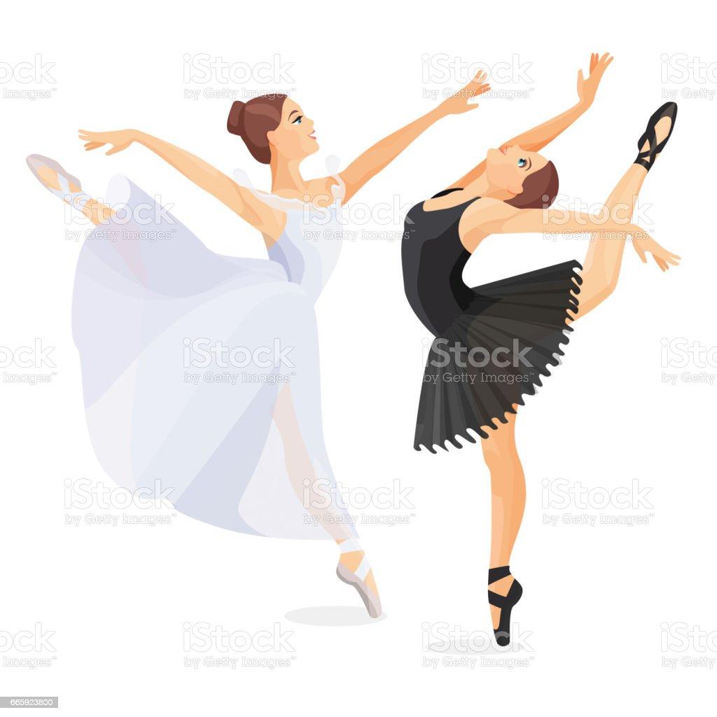 Three young ballet dancers standing in pose flat design three young ballet dancers standing in pose flat design - immagini vettoriali stock e altre immagini di adulto royalty-free
