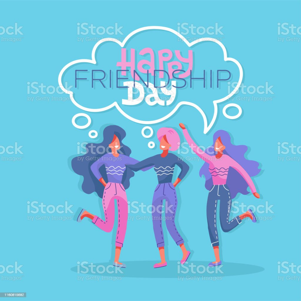 Three Young Beautiful Women In A Moment Of Friendship Modern Flat Style Vector Illustration Happy Friendship Day Greeting Card 3 Girls Hugging And Smiling For Friend Celebration Event Stock Illustration Download