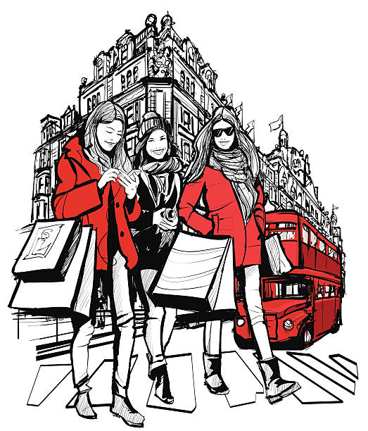 three young fashionable women shopping in london - london fashion stock illustrations, clip art, cartoons, & icons