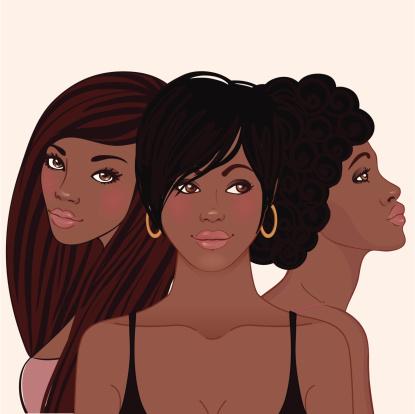 Three young pretty african amerivan women