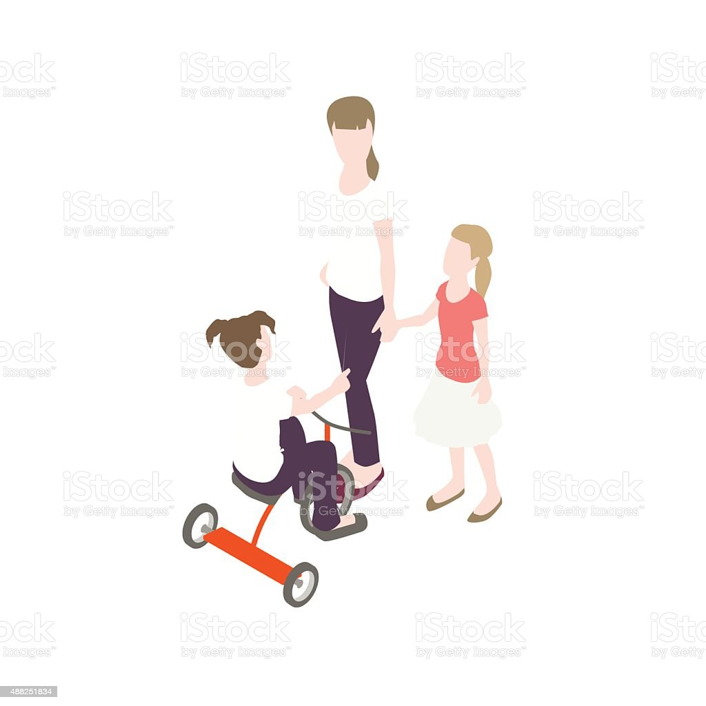 Three young sisters illustration vector art illustration