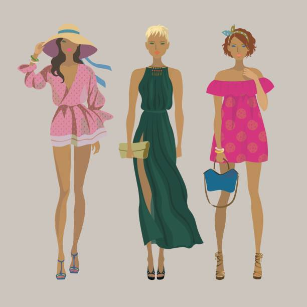 494e757757f Three young stylish girls. Fashion models. Summer trendy outfits. vector  art illustration