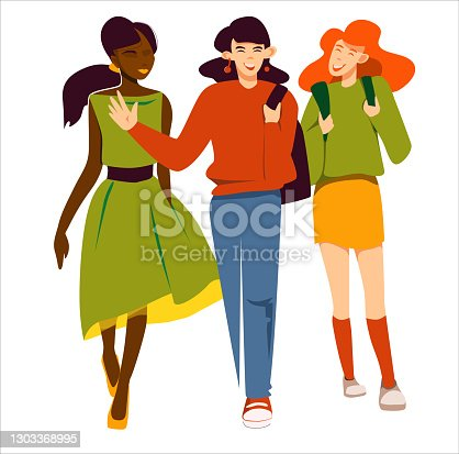 istock Three young women friends are walking and chatting, having fun. Vetor illustration of modern women, possibly students. 1303368995
