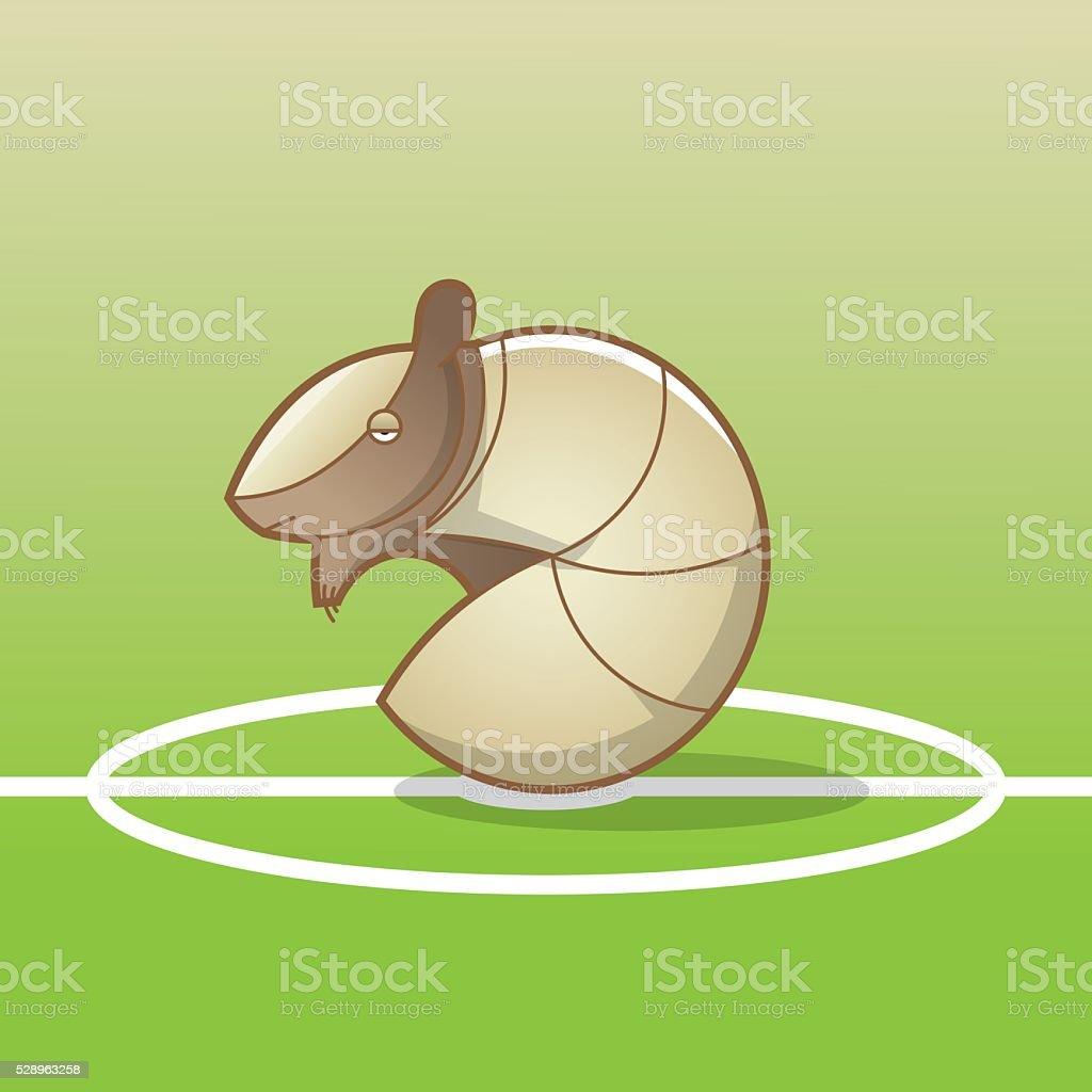 Three-banded armadillo on a soccer field vector art illustration