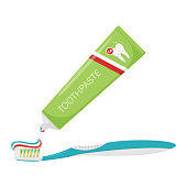 istock Three-color toothpaste is squeezed out of the tube onto the toothbrush. A drop of toothpaste. Dental cleaning, oral Hygiene. Dental care. Isolated flat vector illustration 1268653101