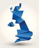 Three-dimensional abstract art in a blue geometric pattern