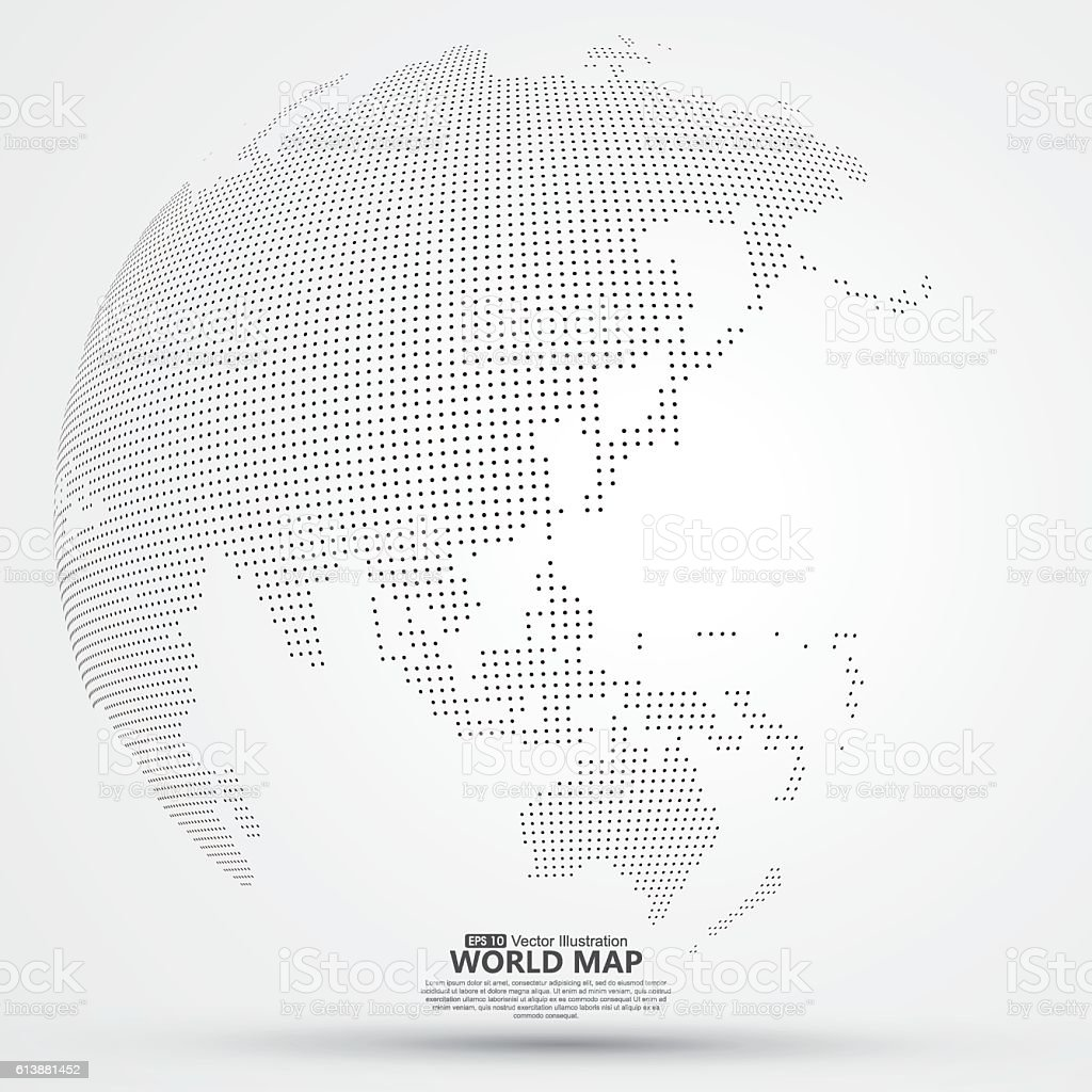 Three-dimensional abstract planet, dots, representing the global, international meaning. vector art illustration