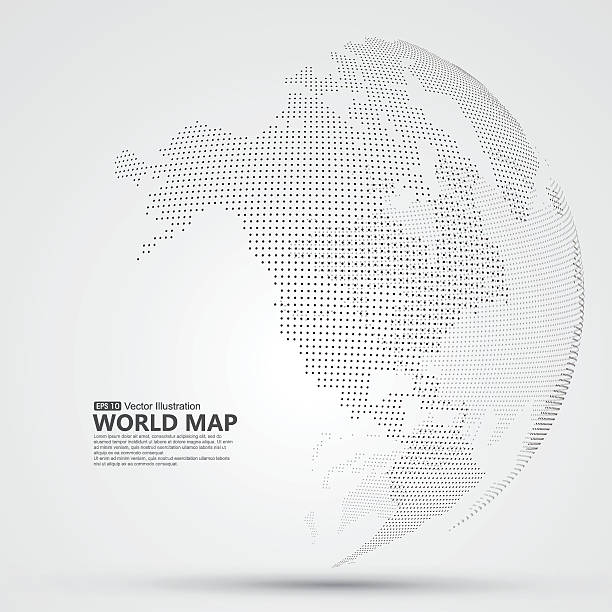 ilustrações, clipart, desenhos animados e ícones de three-dimensional abstract planet, dots, representing the global, international meaning. - mapa da américa do norte