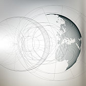 Three-dimensional dotted world globe with abstract construction on gray background, vector illustration.