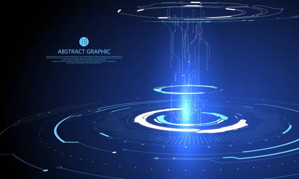Dreidimensionale Interface-Technologie, Science-Fiction-Szene. – Vektorgrafik