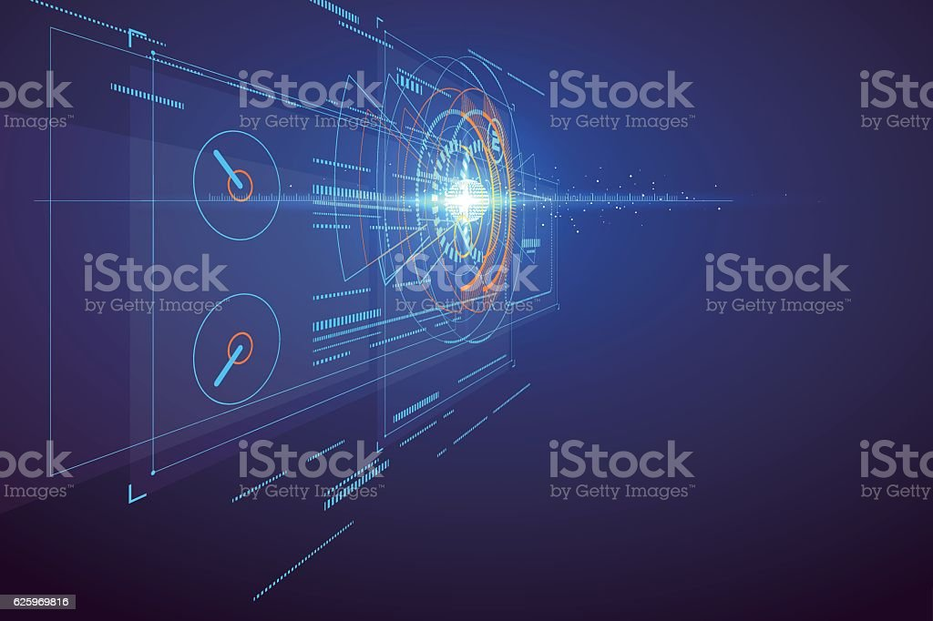 Three-dimensional interface technology, science fiction scene. vector art illustration