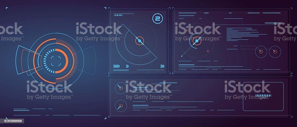 Three-dimensional interface technology, science fiction scene. vector art illustration