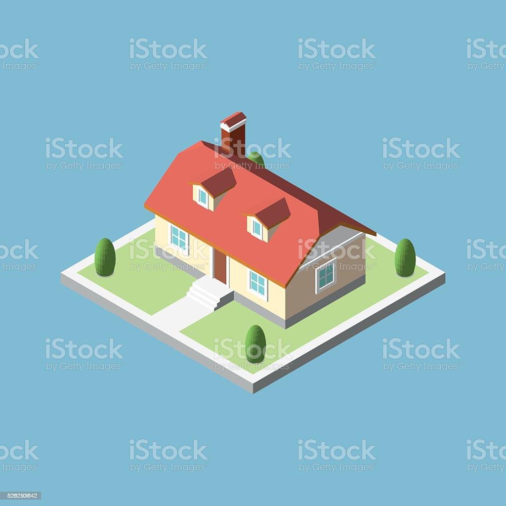 Трехмерное изометрические городок здания векторная иллюстрация