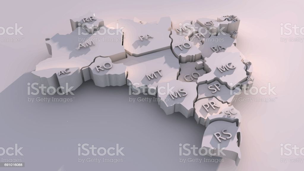 Three-dimensional map of Brazil with states vector art illustration
