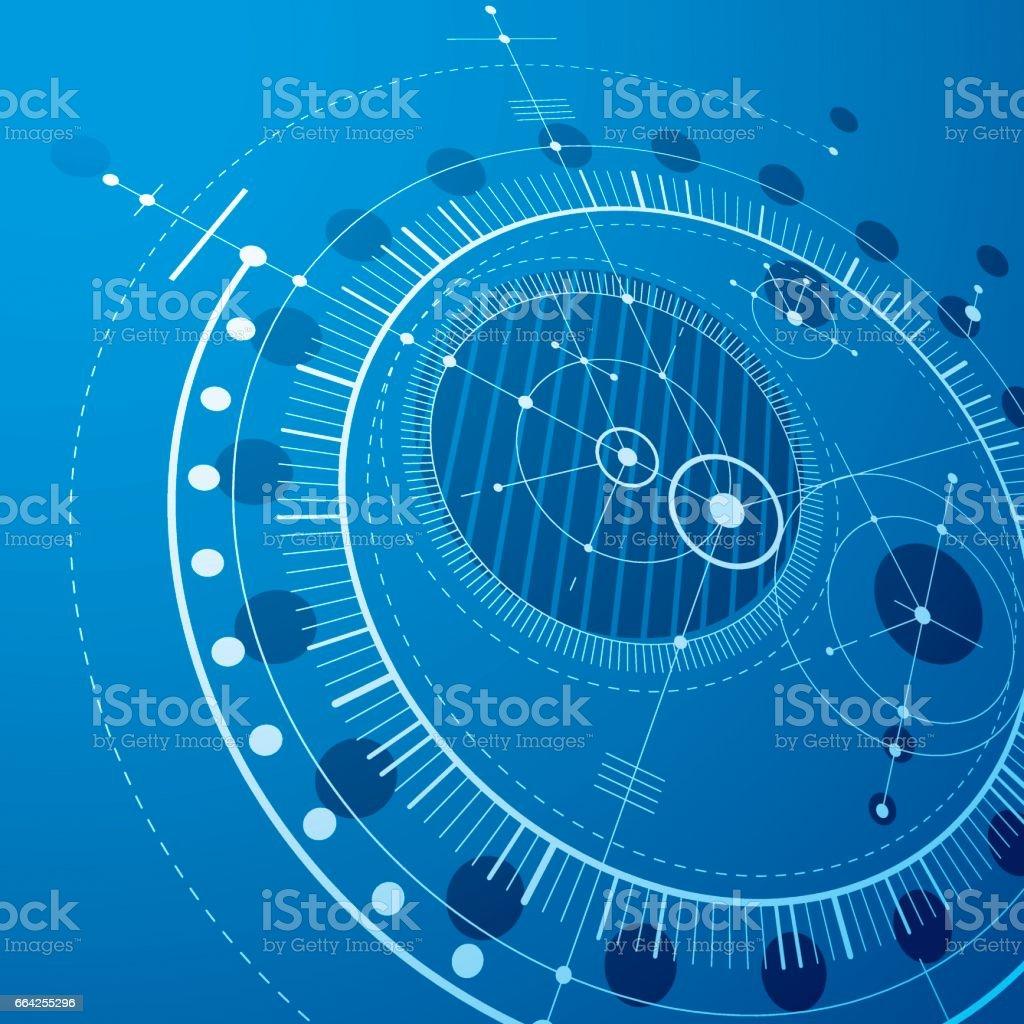 三次元機械的スキーム青色ベクトル工学は円やメカニズムの幾何学的な