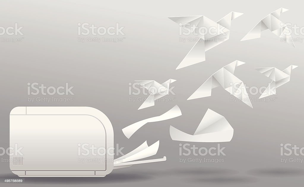 Three-Dimensional Printing vector art illustration