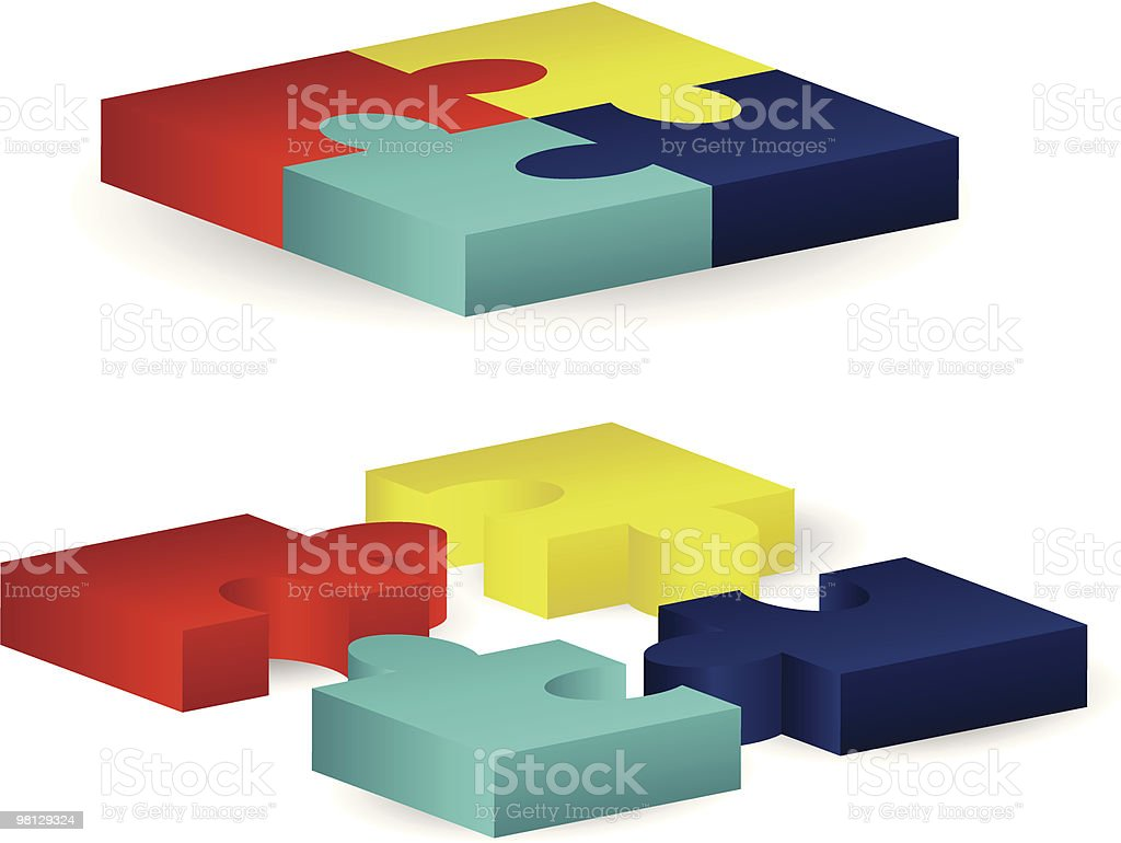 Three-Dimensional Puzzle Blocks royalty-free threedimensional puzzle blocks stock vector art & more images of blue