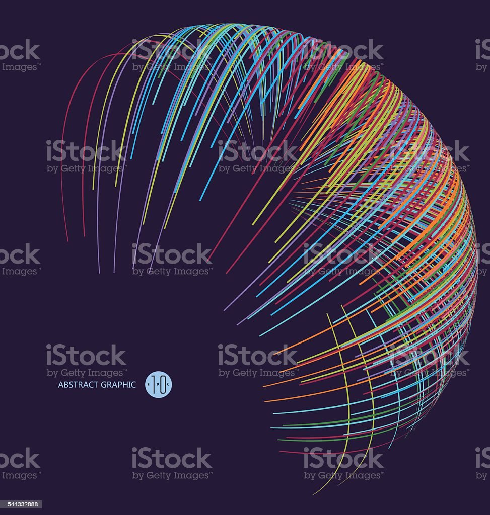 Three-dimensional sphere composed of multicolored curves, abstract graphics.