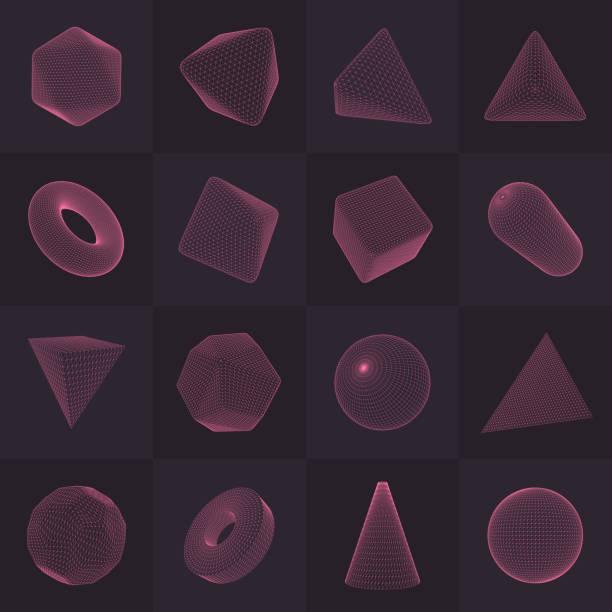stockillustraties, clipart, cartoons en iconen met drie-dimensionale vector shapes-collectie - veelvlakkig