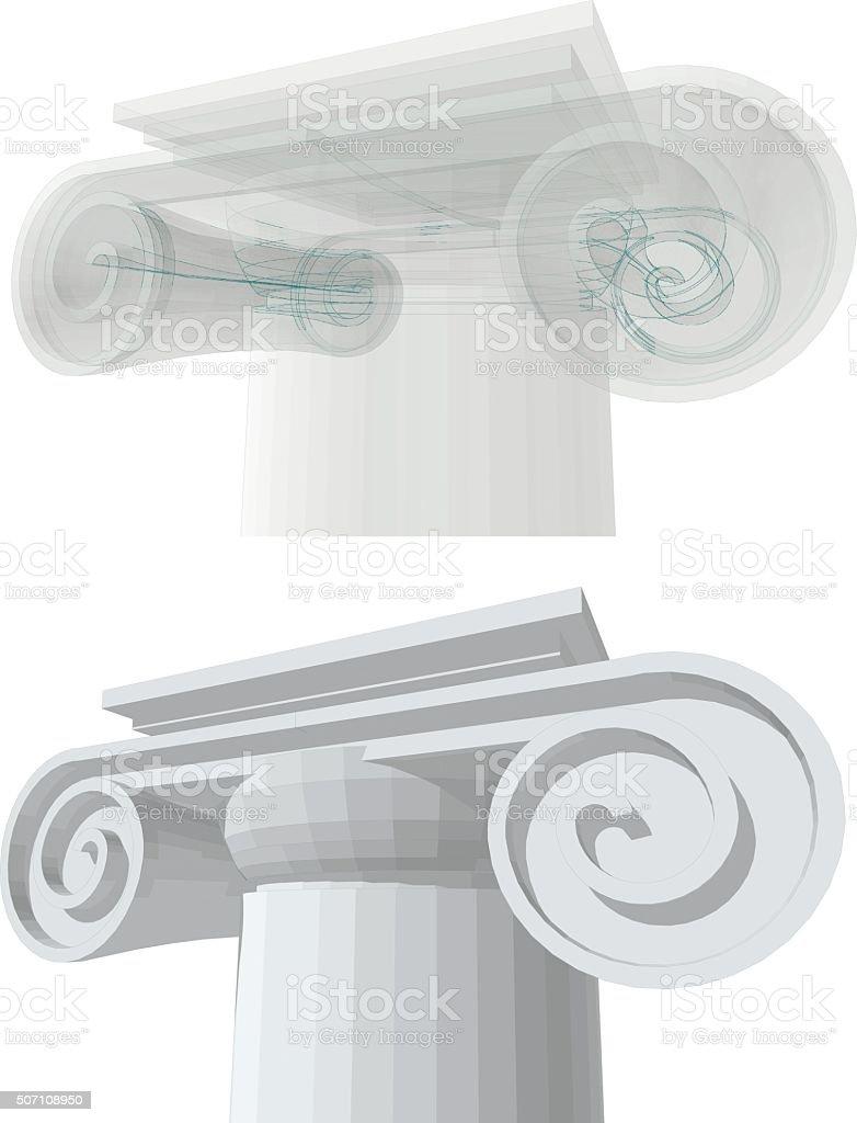 three-dimensional visualization of a column capital vector art illustration