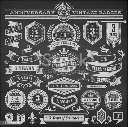 threee year anniversary hand-drawn chalkboard royalty free vector background. This image depicts a black chalkboard with multiple anniversary announcement designs. There is chalk dust remaining on the chalkboard and the chalkboard texture serves a perfect backdrop for making the anniversary announcements look authentic and elegant.