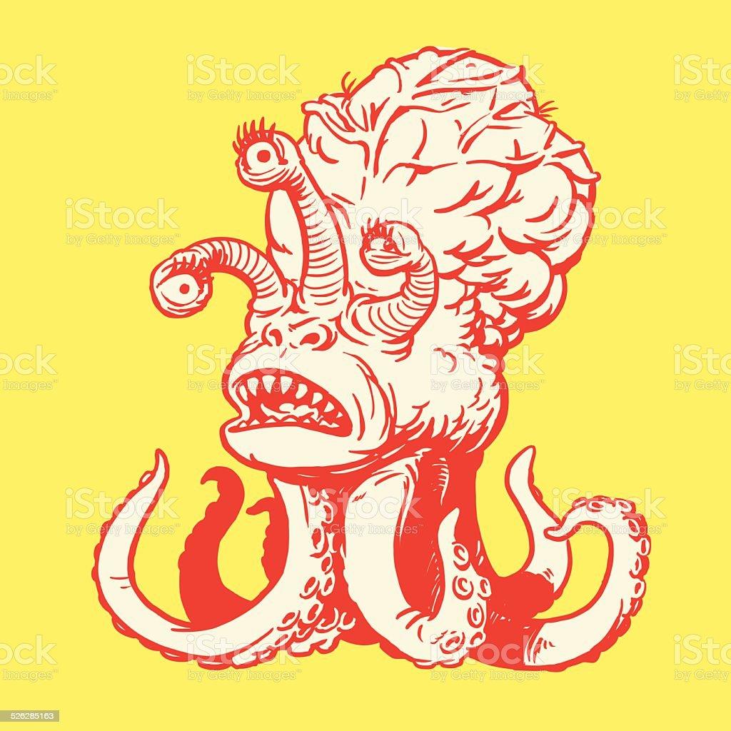 Three-Eyed Sea Monster vector art illustration
