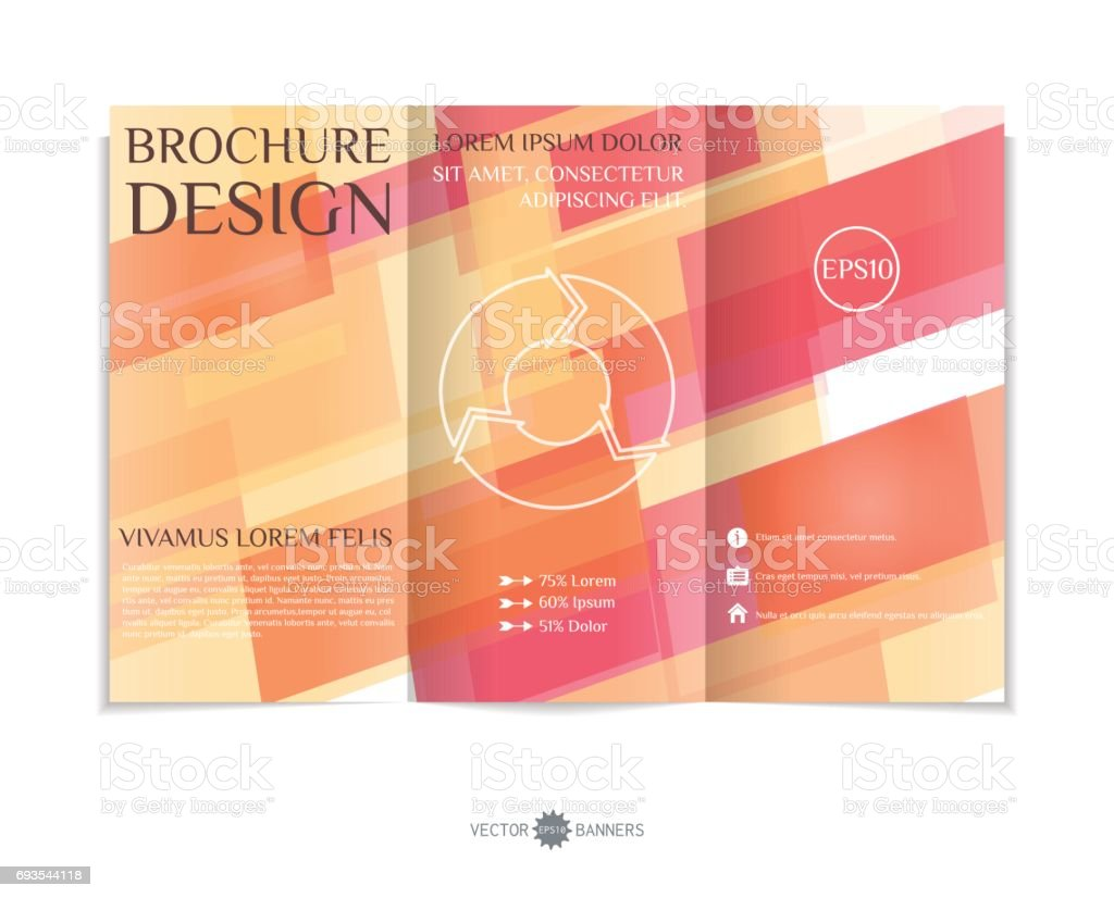 Threefold Brochure Template With Modern Geometric Background ...