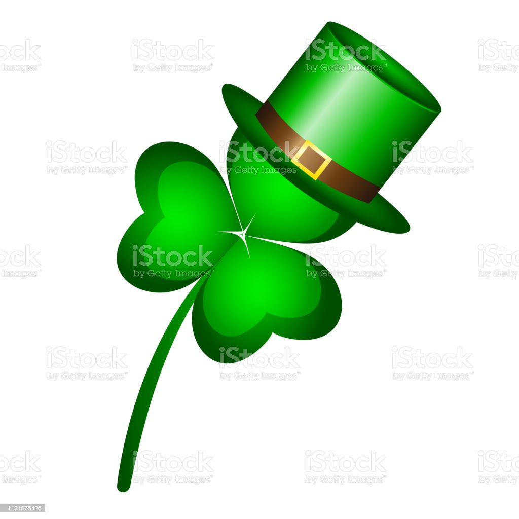 5c1cbfed Three-leaf clover in a cap hat symbol of St. Patrick s Day royalty