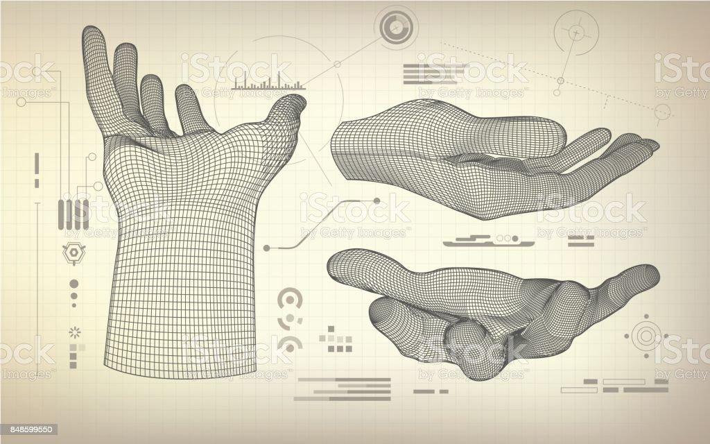 threeReachingHand vector art illustration