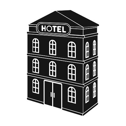 3 층짜리 호텔입니다 블랙 스타일 벡터 기호 재고 일러스트 웹에서 호텔 단일 아이콘의 건축 건물 0명에 대한 스톡 벡터 아트 및 기타 이미지