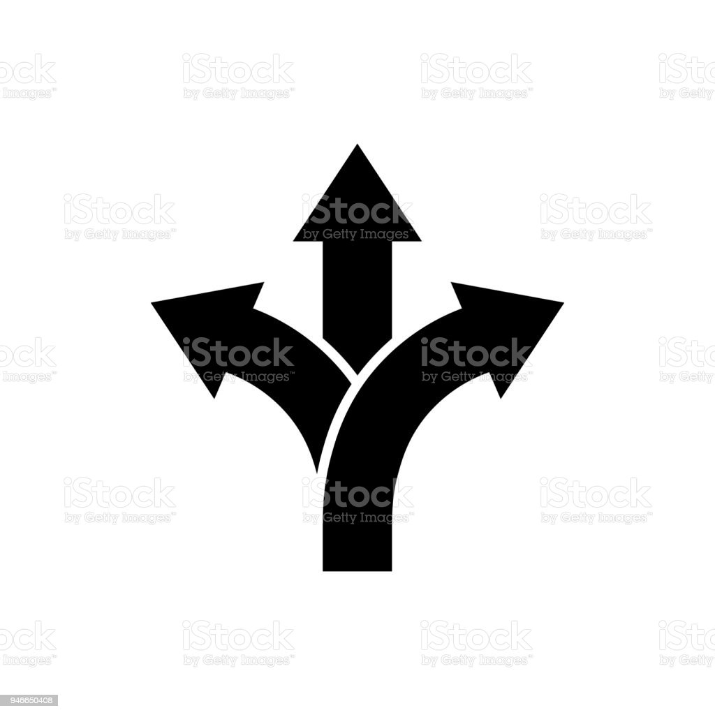 Three-way direction arrow icon Road direction sign royalty-free threeway direction arrow icon road direction sign stock illustration - download image now