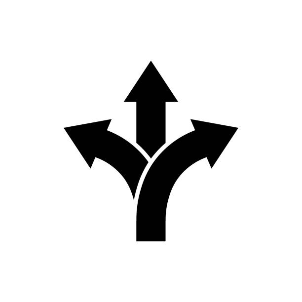 Three-way direction arrow icon Road direction sign Three-way direction arrow icon in flat style. Road direction symbol isolated on white background Simple choice icon in black Vector illustration for graphic design, Web, UI, mobile upp choosing stock illustrations