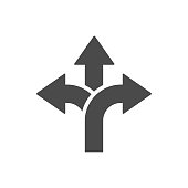 Three-way direction arrow icon Road sign direction signal