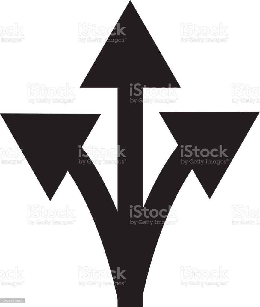 trois voies panneau flèche sur fond blanc. panneau de signalisation de direction. - Illustration vectorielle