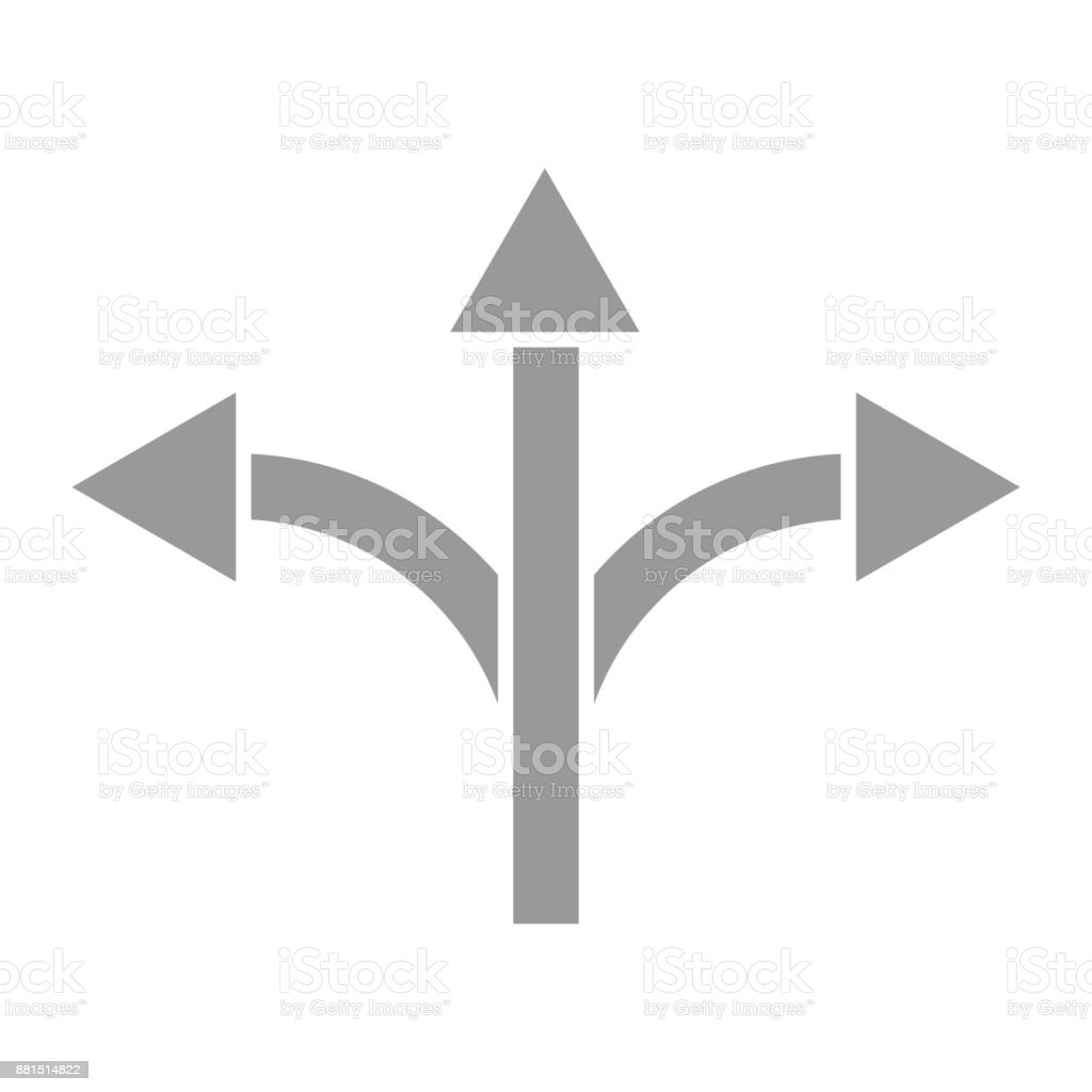 Three-way road direction arrow sign Vector illustration. vector art illustration