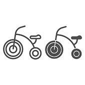 Three-wheeled bike line and solid icon, childhood concept, Kids tricycle sign on white background, Baby bicycle icon in outline style for mobile concept and web design. Vector graphics