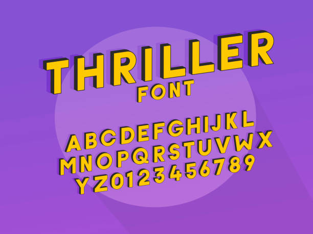 Thriller font typeface. Vector design unique font with cartoon show effect. Purple background and orange yellow font with black outline vector art illustration