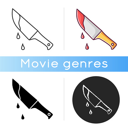 Thriller movie icon. Linear black and RGB color styles. Suspenseful cinema genre, survival horror, action. Shocking films with gore and violence. Bloody knife isolated vector illustrations.