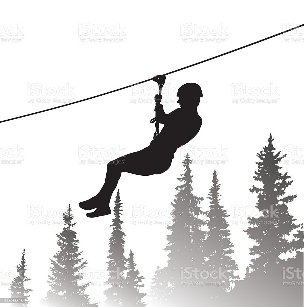 Line Art Zip : Thrilling zip line adventure stock vector art