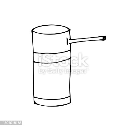 istock Throat spray or oral spray or aerosol can to treat sore throat. Doodle vector illustration, simple cartoon line art. 1304018186
