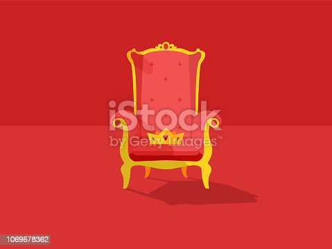 Red royal throne with a crown on it. King throne or armchair icon in flat style isolated on red background. Vector flat illustration